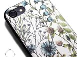 iPhone7/iPhone8/iPhoneSE2(新型) 軽量レザーケースカバー(花柄×ブラック)ワイルドフラワー ボタニカルの画像