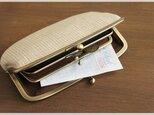 ■手紡ぎ、手織りシルク・リネンの親子がま口長財布 / d■の画像