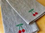 リネンのふきんナチュラル サクランボの刺繍の画像