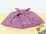 あずま袋 紫色小桜 ファスナー無しバッグ、かごバッグのバッグインにの画像