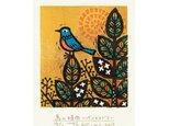 多色摺木版画「鳥の時間ーイソヒヨドリ」額付きの画像