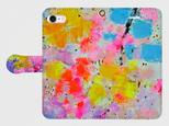 """アートペイント """"花束""""  iphone 5/5s/6/6s/SE/7/8/X 専用 手帳型ケース 抽象画の画像"""