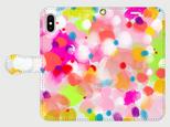 """アートペイント """"キラキラ""""  iphone 5/5s/6/6s/SE/7/8/X/XR/11 手帳型ケース 抽象画の画像"""