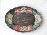 金魚絵のオーバルプレート(ブロンズ釉)の画像