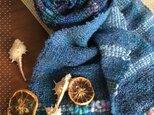 裂織りのストール(ブルー)の画像