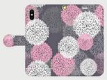 北欧デザイン ボタニカルフラワー(ピンク) iphone 5/5s/6/6s/SE/7/8/X 専用 手帳型ケースの画像