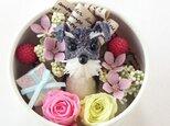 お花で作ったワンちゃん [ちいさな友達:ミニチュア・シュナウザーBOXアレンジ~」の画像