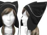 パンク[ジップ&チェーン] 耳あて付ネコ耳帽子◆コットンニット/ブラックの画像