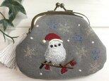 クリスマス限定シマエナガ 刺繍がま口 タッセル付 ウオッシュ帆布8号の画像