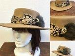 セール価格★男女兼用★オシャレなフェルトハット❤️柄リボンのカンカン帽子風フェルトハット(キャメル)の画像