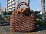 山葡萄(やまぶどう)籠バッグ | 小柄六角花結び編み | 巾着と中布付き | (約)幅26cmx高さ20cmx奥行13cmの画像