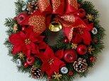 外ドアにも☆ポインセチアのクリスマスリースDの画像