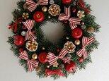 リボンリボンなクリスマスリース(30センチ)の画像