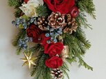 大きなクリスマススワッグ★赤バラ(55センチ×30センチ)の画像