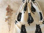 北欧ネコとリネン☆巾着袋(069)の画像