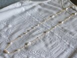 大粒淡水真珠のロングネックレス(金鎖)LN7の画像