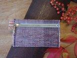 裂き織り布のカードケース 木綿・手織り(むらさき×みずいろのファスナー)の画像