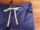 ヘリンボーン起毛パンツ:紺の画像