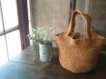 麻糸と手織り布のリバーシブルバッグの画像
