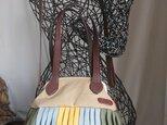 『受注製作』牛革&倉敷帆布 がまぐちバルーンバッグ20 カワラヒワの画像