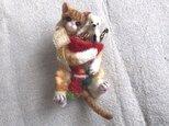 茶トラちゃんとクリスマスストッキング 形状安定羊毛フェルト ブローチ&ネックレスの画像