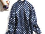 さまざまのコーデに実力を発揮するドットシャツ 麻100% 長袖シャツ1125-2の画像