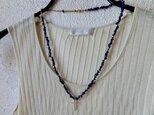 *happy sale*カジュアルに祈りのネックレス ラピスラズリ×メタル(真鍮)ビーズ+ラフクロス 4の画像