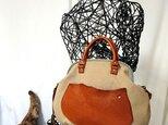 『受注製作』sorrisobag 栃木レザー×倉敷帆布 ショルダーbagベージュの画像