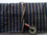送料無料 唐桟縞の着物で作った和風財布・ポーチ 4027の画像