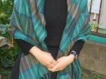 手織り大判ショールSHA110B ウール シルク グリーン系 暖か の画像