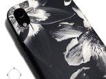 iphoneXRケース / iphoneXRカバー レザーケースカバー(花柄×ブラック)ブラックフラワー / XRの画像