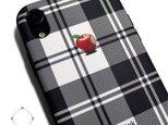 iphoneXRケース / iphoneXRカバー レザーケースカバー(タータンチェック)赤リンゴ / XRの画像