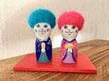 T.Y様 オーダー商品   アフロ猫の雛人形の画像