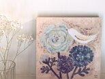 春の18cmパネル・ラナンキュラスと白いとりblueの画像