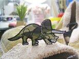 人気の恐竜トリケラトプス/カモフラージュb★ワッペン10-1枚の画像