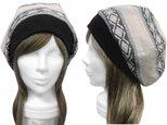 ネイティブ柄 ジャガード織コットンニット/リブ付ベレー帽(ゆったり)◆オフホワイトmixの画像