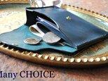 イタリアンオイルレザーアリゾナ・ミニマム財布(アルノブルー)の画像