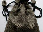 送料無料 大島紬で作った巾着袋 4116の画像