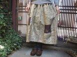 着物リメイク☆墨絵のような美しい染め紬の春色スカート80㎝丈の画像