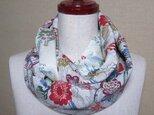 着物リメイク 花、華の小紋着物を組み合わせて作った可愛いスヌード  の画像