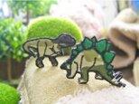 人気の恐竜テラノサウルス/ステゴサウルス/カモフラージュb★ワッペン5-2枚の画像