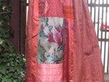 着物リメイク☆織のきれいな紬ロング丈スカート背の高い方に♪87㎝丈の画像