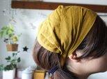 綿麻マスタードカラーのヘアターバンの画像