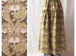 【ちょっと短め80cm】しっかり生地の華やかティアードスカート(ジャポネ:カーキの画像