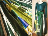 SOLD リネン コットン 絵画なパッチワーク 北欧グリーン リボン付き ギャザースカートの画像