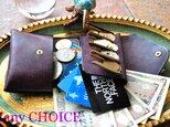 イタリアンレザー・革新のプエブロ・2つ折りコインキャッチャー財布(改)(バイオレット)の画像