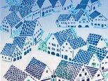 型染めてぬぐい「城塞の街 ‐宵の月星-」(綿100%・手染め捺染)の画像