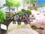 人気の恐竜トリケラトプス/キャンディ柄★ワッペン10-1枚の画像