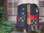 古布リメイク☆絣や布団がわ藍染プラスでカラフルパッチスカート85㎝丈の画像