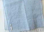 手織り・藍染め リネン大判ストール ギンガムチェックの画像